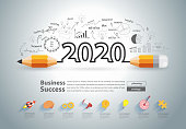 Creative pencil design on drawing charts graphs business success strategy plan ideas concept, New year 2020 calendar cover, typographic inspiration, Vector illustration modern layout template design
