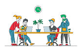 Creative People Business Team Group Sitting at Office Desk with Laptops Working in Studio. Office Employees Characters, Businesspeople Work in Coworking Company, Teamwork. Linear Vector Illustration