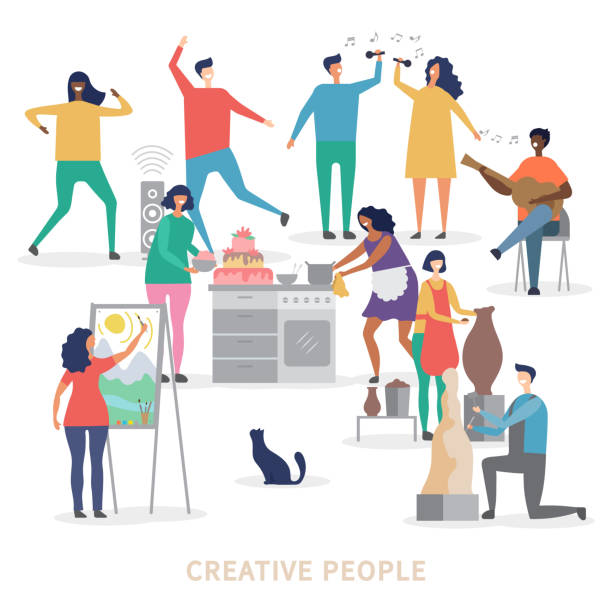 Creative people characters of group vector background Creative people characters of group vector background. Profession artist and sculptor making statue illustration hobbies stock illustrations