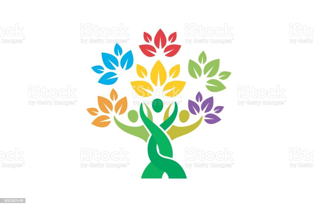 Creative People Family Tree Plant Design Symbol Stock Vector Art