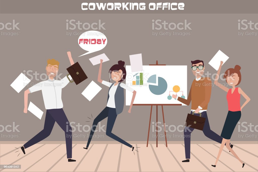 Creative people flat compositions happy Friday and hurry home in co working office. - Royalty-free Adult stock vector