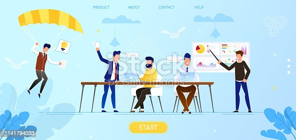 Creative People in Office Have Idea. Group of Men Working Together with Laptop. Successful Team in Coworking Space Developing Project. Partnership Cartoon Flat Vector Illustration. Horizontal Banner.