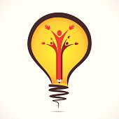 creative people support symbol design with pencil in bulb vector