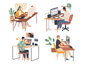 istock Creative people working in their workplaces passionate about work 1261543620