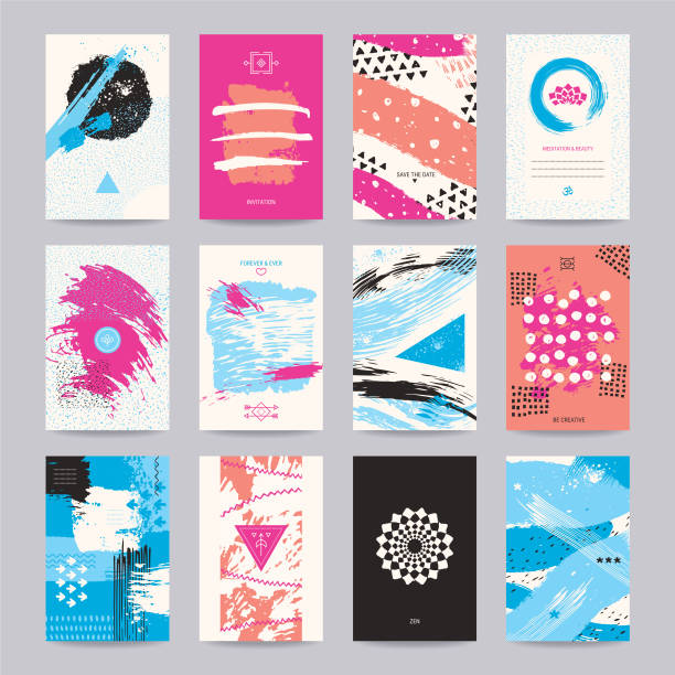 creative poster, art flyer, colorful modern design - business cards templates stock illustrations