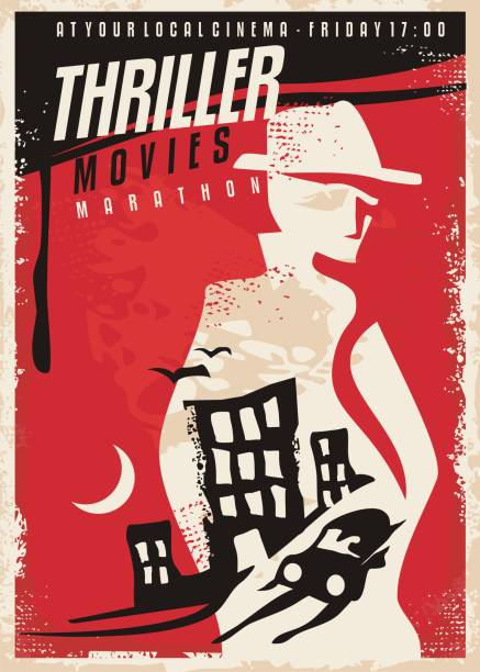 Creative poster design for thriller movie show Creative poster design for thriller movie show. Cinema poster template with secret agent silhouette and night city scene. Vector layout. detective stock illustrations