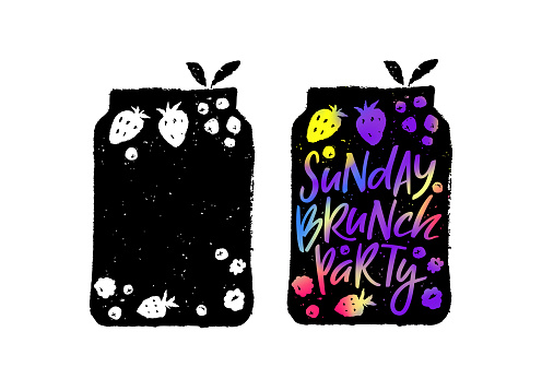 Creative Poster for Sunday Brunch Party. Hand Drawn Fruits and Berries in a Jar. Vector Template Silhouettes