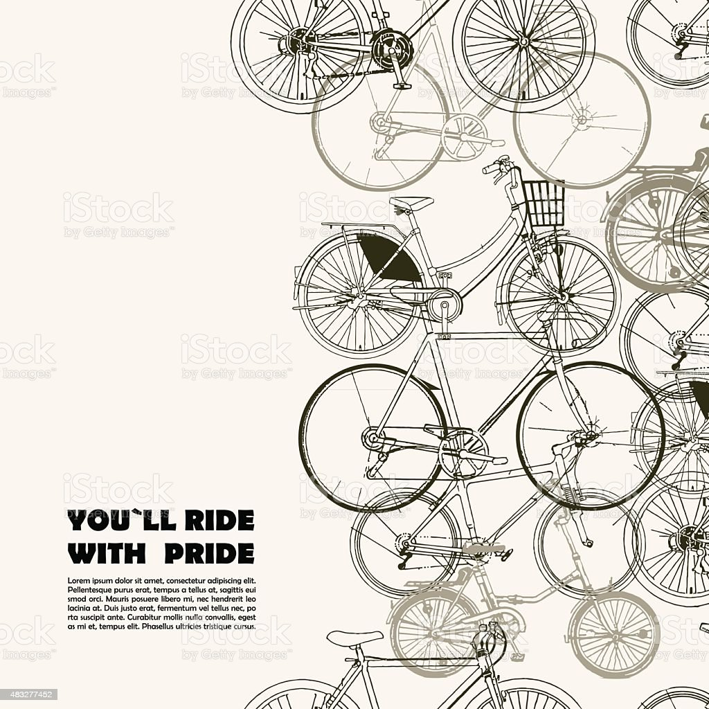 Creative poster with various bikes and space for your text vector art illustration