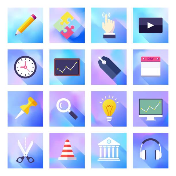 kreatives problem zur lösung von holographischen gradientenstyle-vektor-flach-icon-set - splash grafiken stock-grafiken, -clipart, -cartoons und -symbole