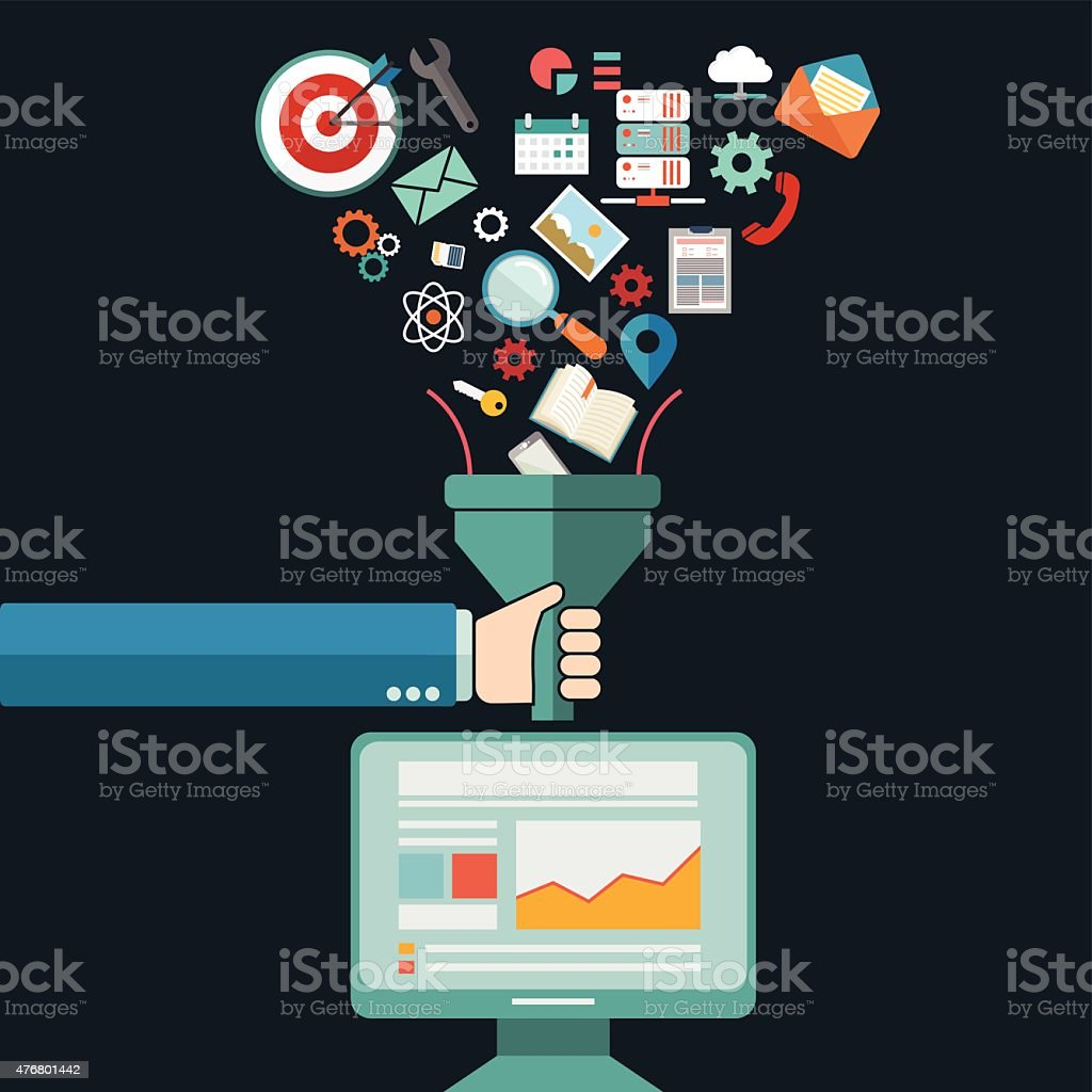 Creative process, big data filter, data tunnel, analysis concept vector art illustration