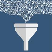 Creative process, big data filter, data tunnel, analysis concept