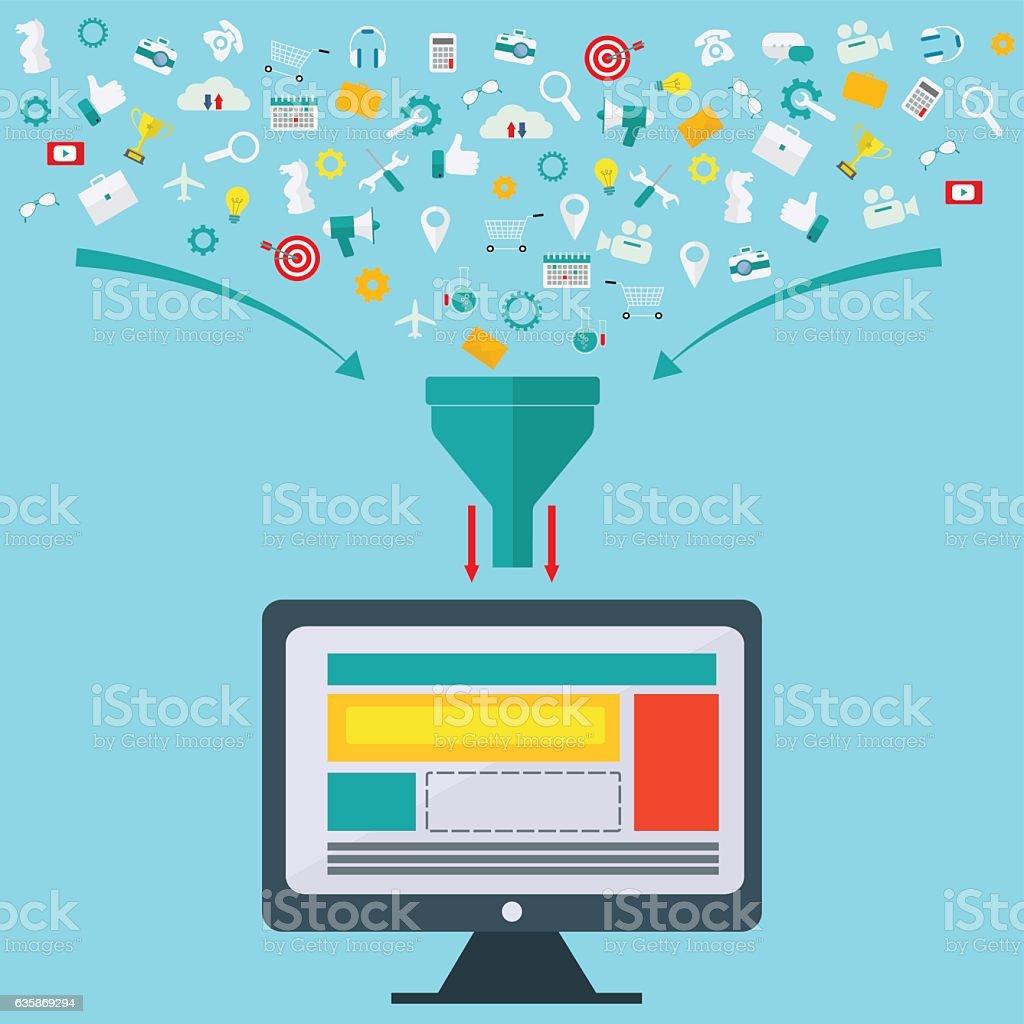 Creative process, big data filter, data tunnel, analysis vector concept vector art illustration