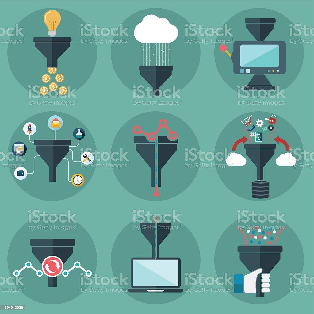 Creative process, big data filter, data tunnel,  cloud computing vector art illustration