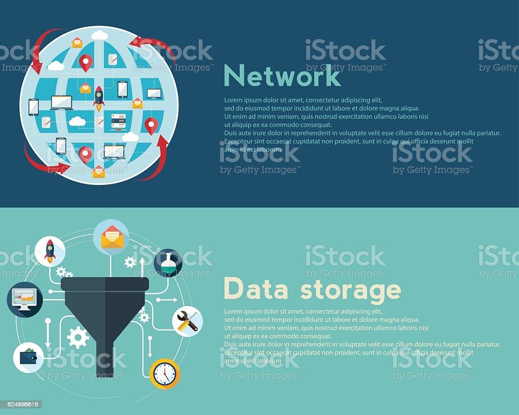 Creative process, big data filter, network, data tunnel, analysis concept vector art illustration