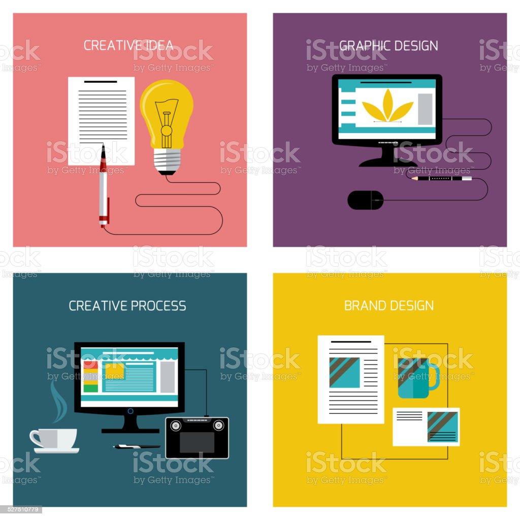 Concept icon set in flat design for creative idea, process, graphic...