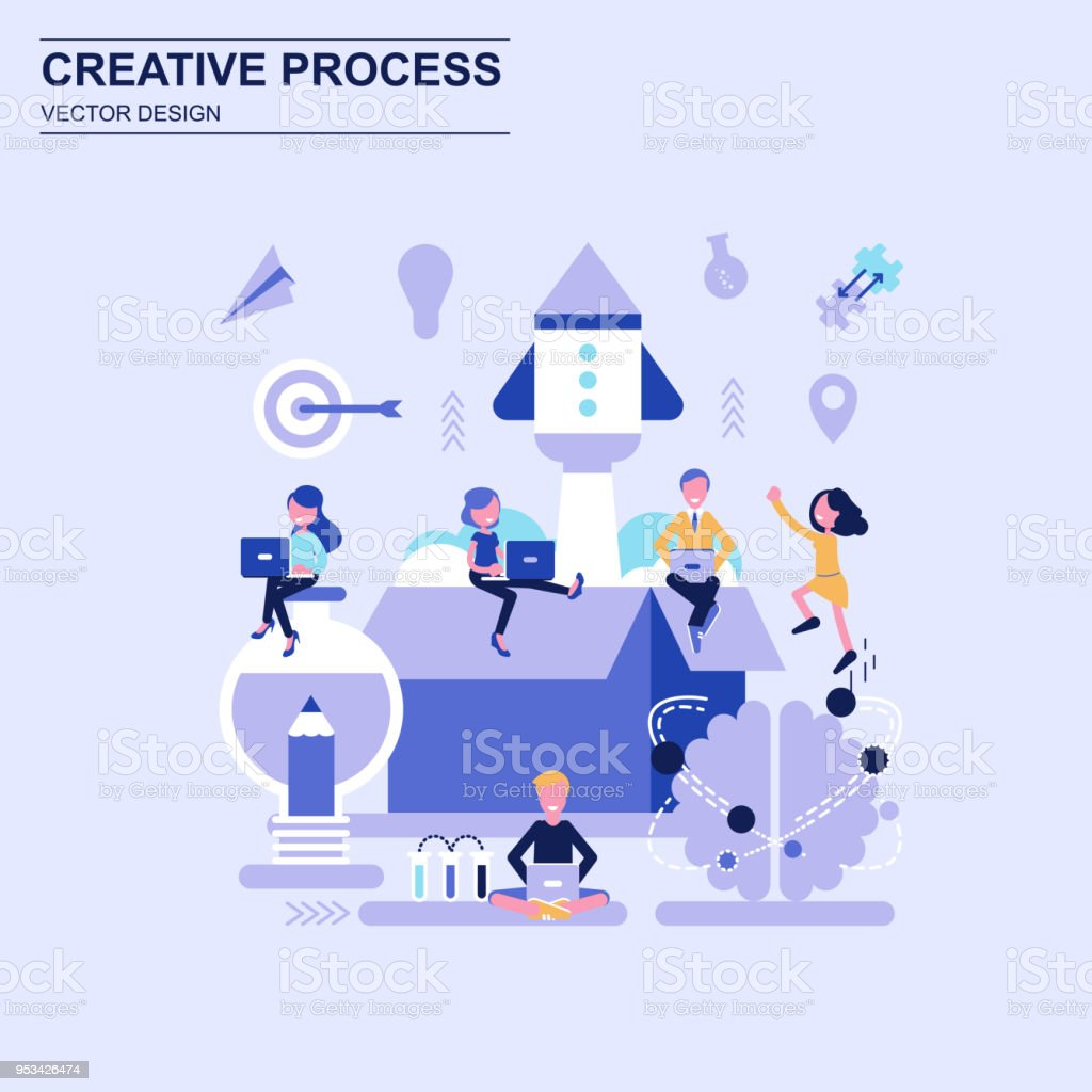 Creative process flat design concept blue style with decorated small people character. vector art illustration