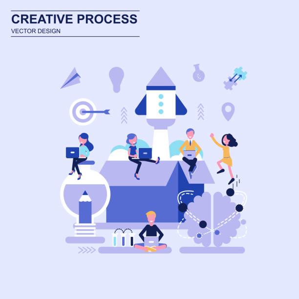 ilustrações, clipart, desenhos animados e ícones de processo criativo design plano conceito azul estilo com caráter decorado pessoas pequenas. - startup