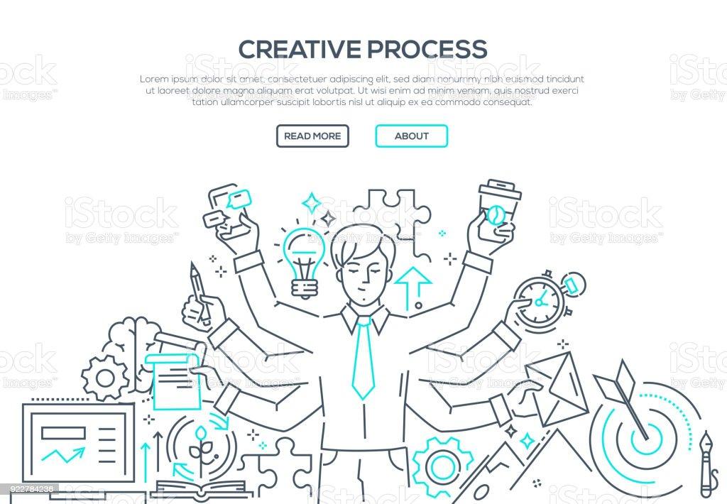 Kreativen Prozess - moderne Linie Design-Stil-Darstellung – Vektorgrafik