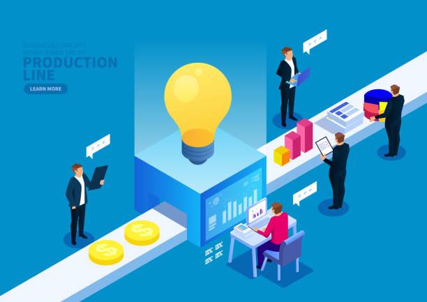 ilustraciones, imágenes clip art, dibujos animados e iconos de stock de línea de producción creativa - planificación financiera