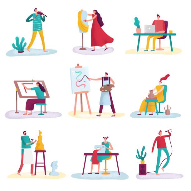 ilustraciones, imágenes clip art, dibujos animados e iconos de stock de artista de profesión creativa. personas artísticas arte escultor, artesano pintor y diseñador de moda. conjunto de vector aislado creadores artistas - pintor
