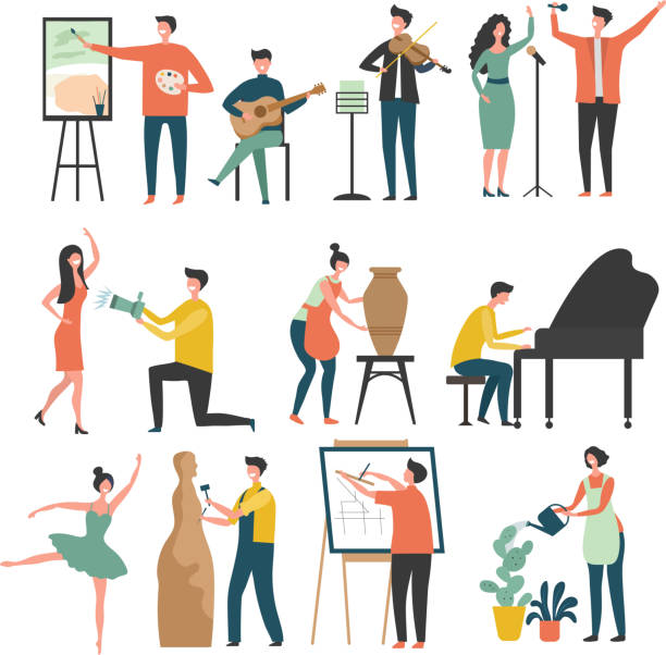 stockillustraties, clipart, cartoons en iconen met creatief beroep. gestileerde personages van creative peoples artists beeldhouwers trekt acteurs vector gekleurde foto's - hobby's
