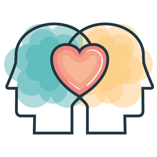 creative profile and brain - love emotion stock illustrations
