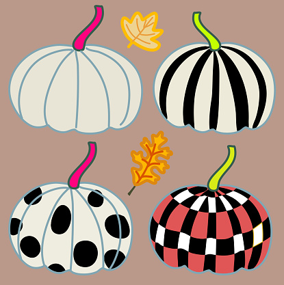 creative pumpkins design set hand drawn vector