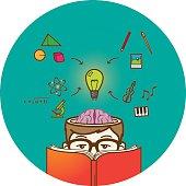 Creative reading boy with open brain