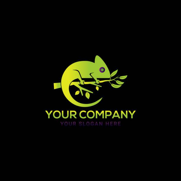 Creative realistic colorful chameleon logo design Creative chameleon logo vector chameleon stock illustrations