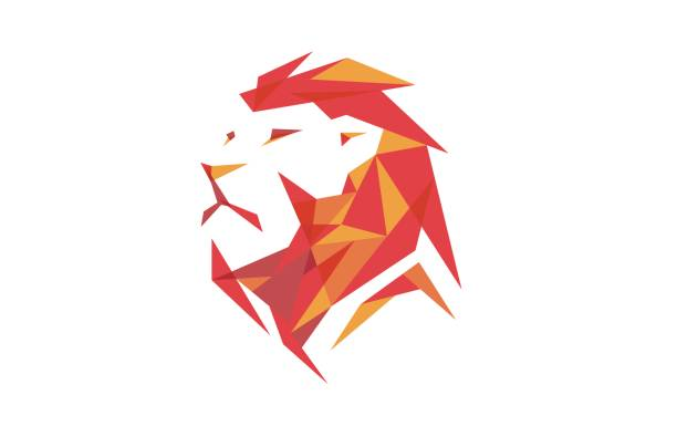 creative red abstract lion head design symbol - lion stock illustrations, clip art, cartoons, & icons