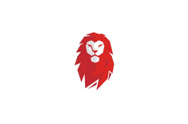 Creative Red Lion Head Logo Creative Red Lion Head Logo lion stock illustrations