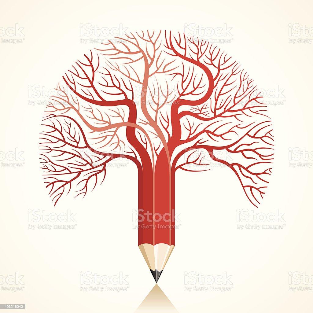 Creative Red Pencil Tree Branch Stock Vector Stock Vector Art & More ...