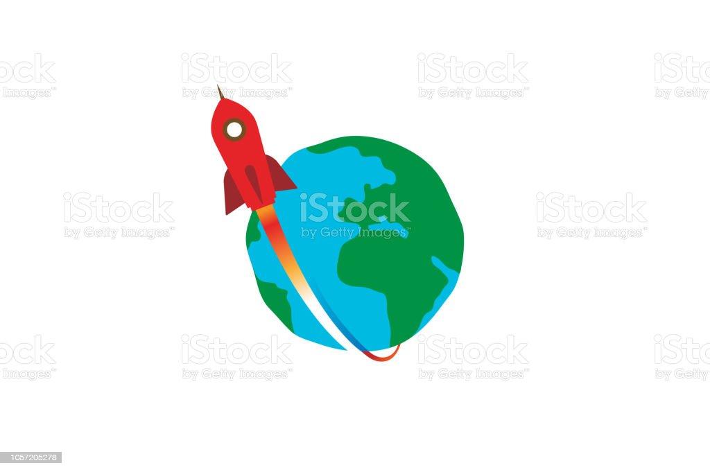 Creative Red Rocket Planet Earth Logo vector art illustration
