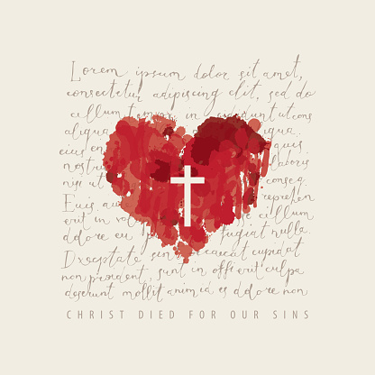 creative religious banner with an abstract red heart