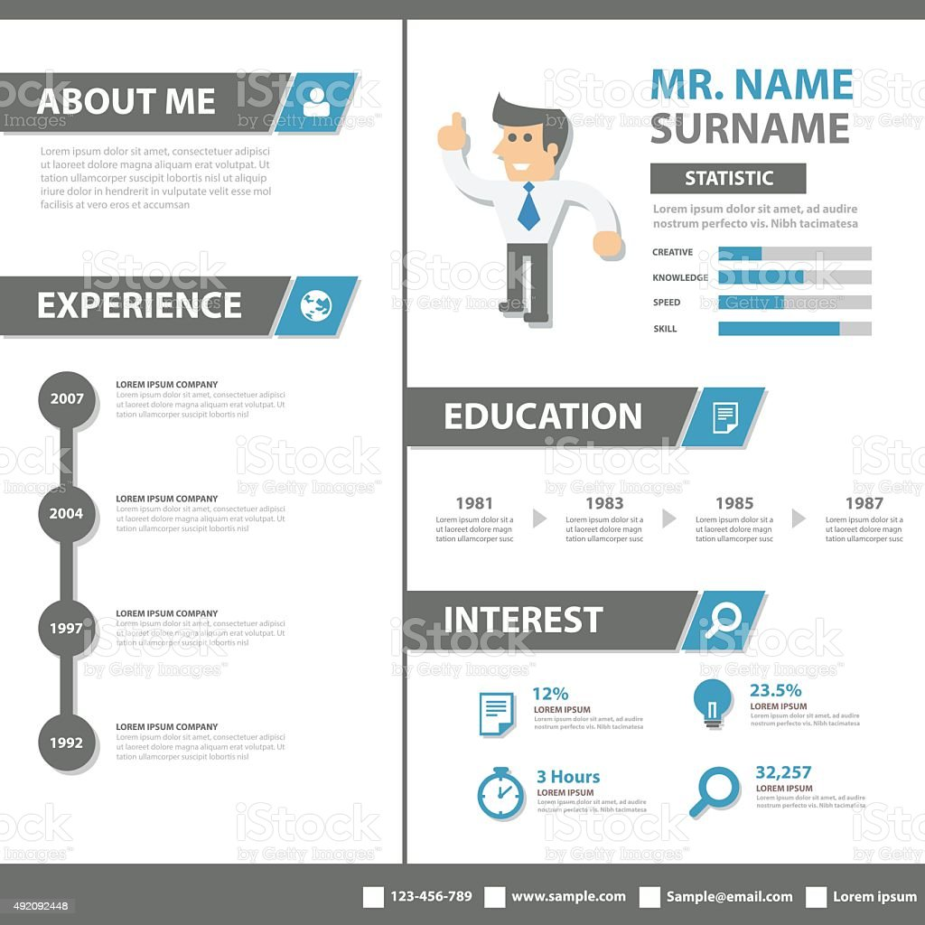 creative resume business profile cv vitae template layout flat design stock vector art  u0026 more