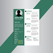 Green and white resume format design