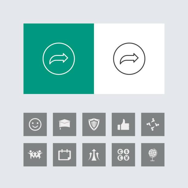 bonus simgeleri ile yaratıcı sağ ok hattı simge. - start stock illustrations