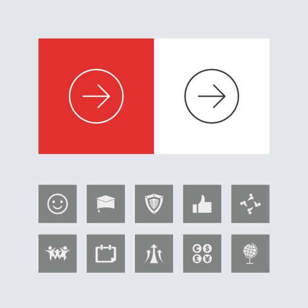 bonus simgeleri ile yaratıcı sağ yan ok hattı simgeleri - start stock illustrations