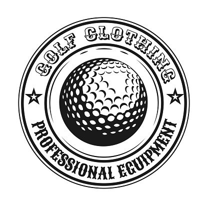 Creative round golf emblem or sticker vector illustration. Vintage label with golf ball isolated vector illustration. Sport game and championship concept can be used for template