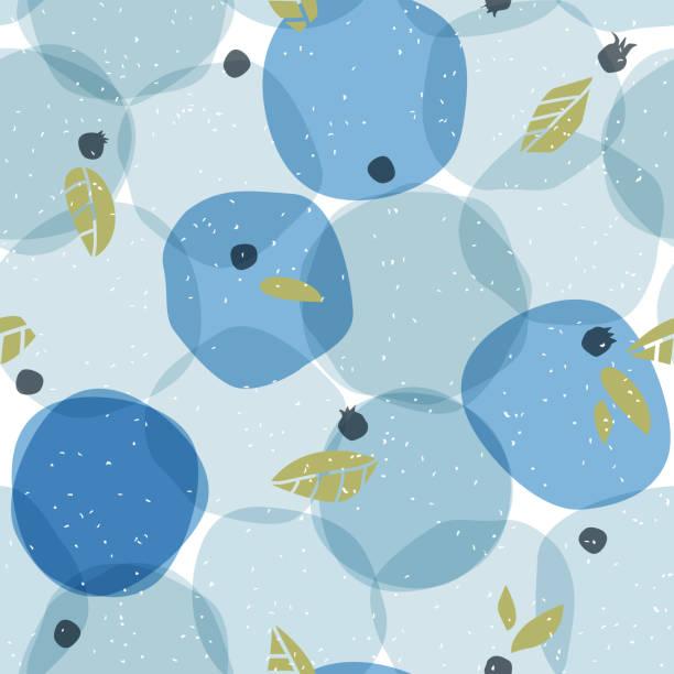 illustrazioni stock, clip art, cartoni animati e icone di tendenza di creative seamless pattern with blue berry. polka dot background in scandinavian style. - mirtilli