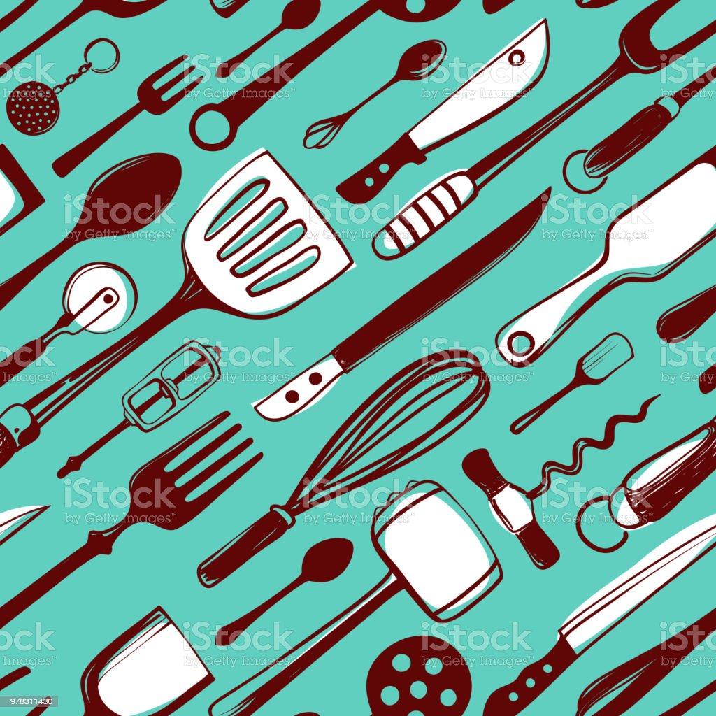 Creative Seamless Pattern With Kitchen Utensils Stock Vector Art ...