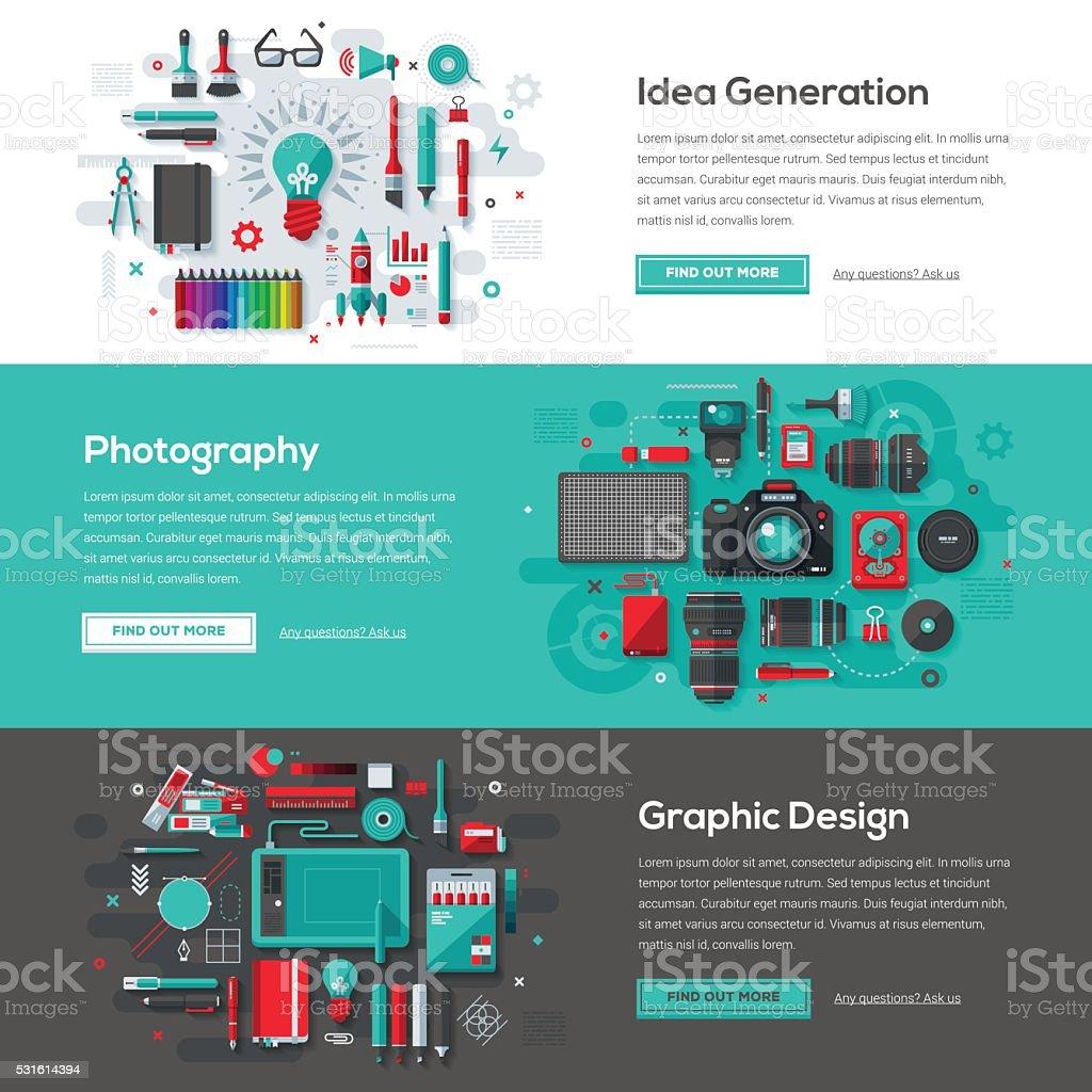 Creative Services Web Banner Set vector art illustration