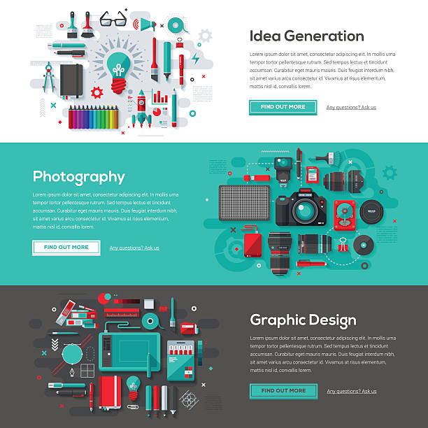 Creative Services Web Banner Set vector art illustration