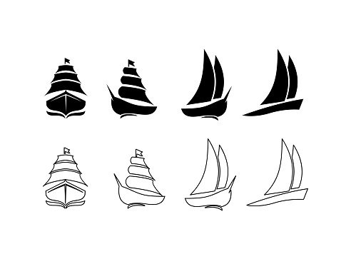 creative set collection Viking sail military ship icon logo. Simple illustration vector icon illustration isolated background design