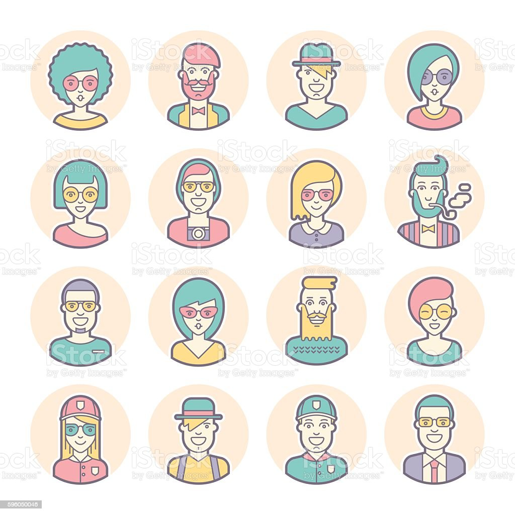 Creative set of round avatars. Thin lines. Vector. royalty-free creative set of round avatars thin lines vector stock vector art & more images of adult