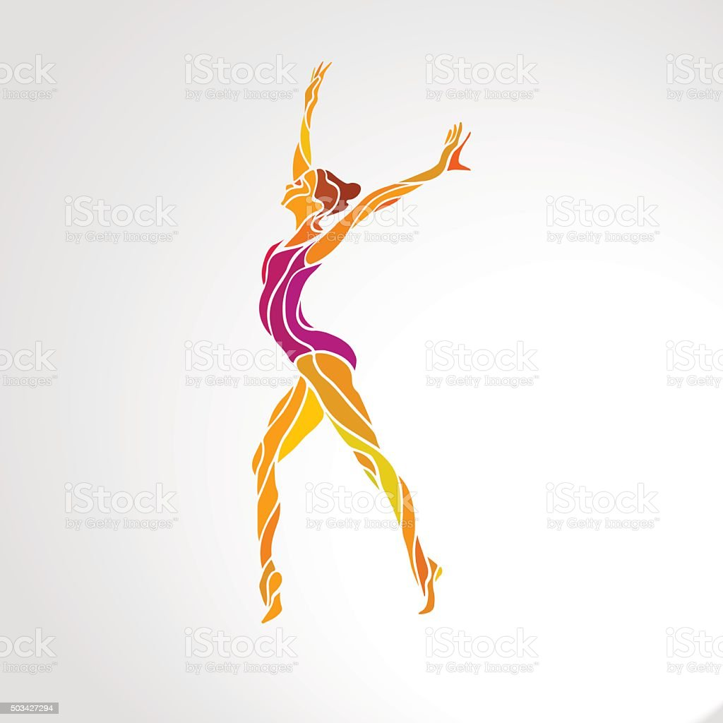 Creative silhouette of gymnastic girl. Art gymnastics dancing woman, vector vector art illustration