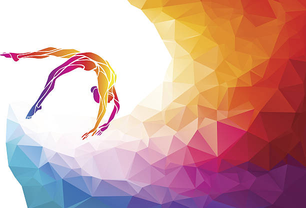 creative silhouette of gymnastic girl. art gymnastics vector - gymnastics stock illustrations, clip art, cartoons, & icons