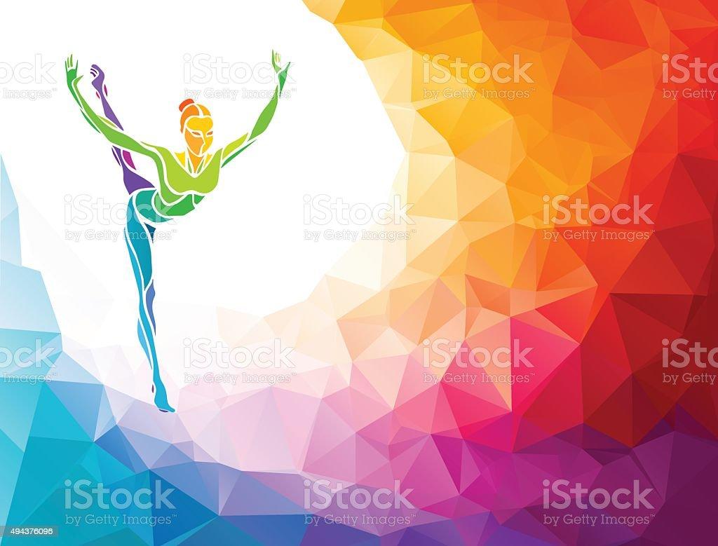 Creative silhouette of gymnastic girl on multicolor back vector art illustration
