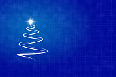 A creative merry christmas tree design in white stroke - Illustration Horizontal Christmas background. An artistic Christmas tree drawn with  white brush stroke, swoosh pattern with a shining twinkling star at the top. The background is dark blue self chequered at two levels. There is an even same sized squares grid and over it are small, medium and large cheques overlapping. Copy space, background. Vignetting. The star at the top of the tree is a bright shiny white light. Can be used as Xmas greeting card, New Year celebration background, party banner, wallpaper, gift wrapping paper / sheet. Copyspace,  copy space, No text. No people