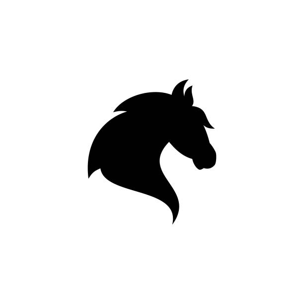 Creative, simple silhouette head horse vector icon on the modern flat style for web vector art illustration